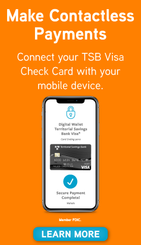 Make Contactless Payments.  Connect your TSB Visa Check Card with your mobile device.  Learn More.