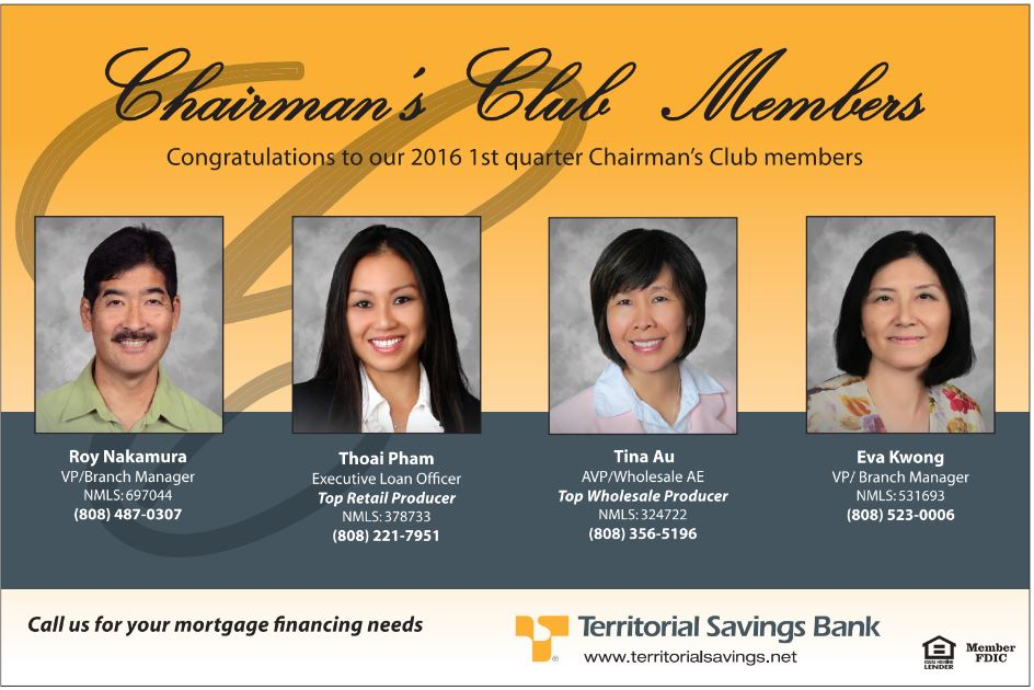 Congratulations to our 2016 1st quarter Chairman's Club members