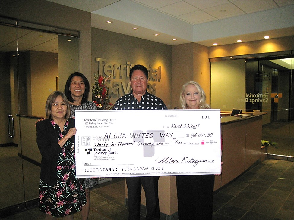 Territorial Savings Bank Donates $36,000 to United Way
